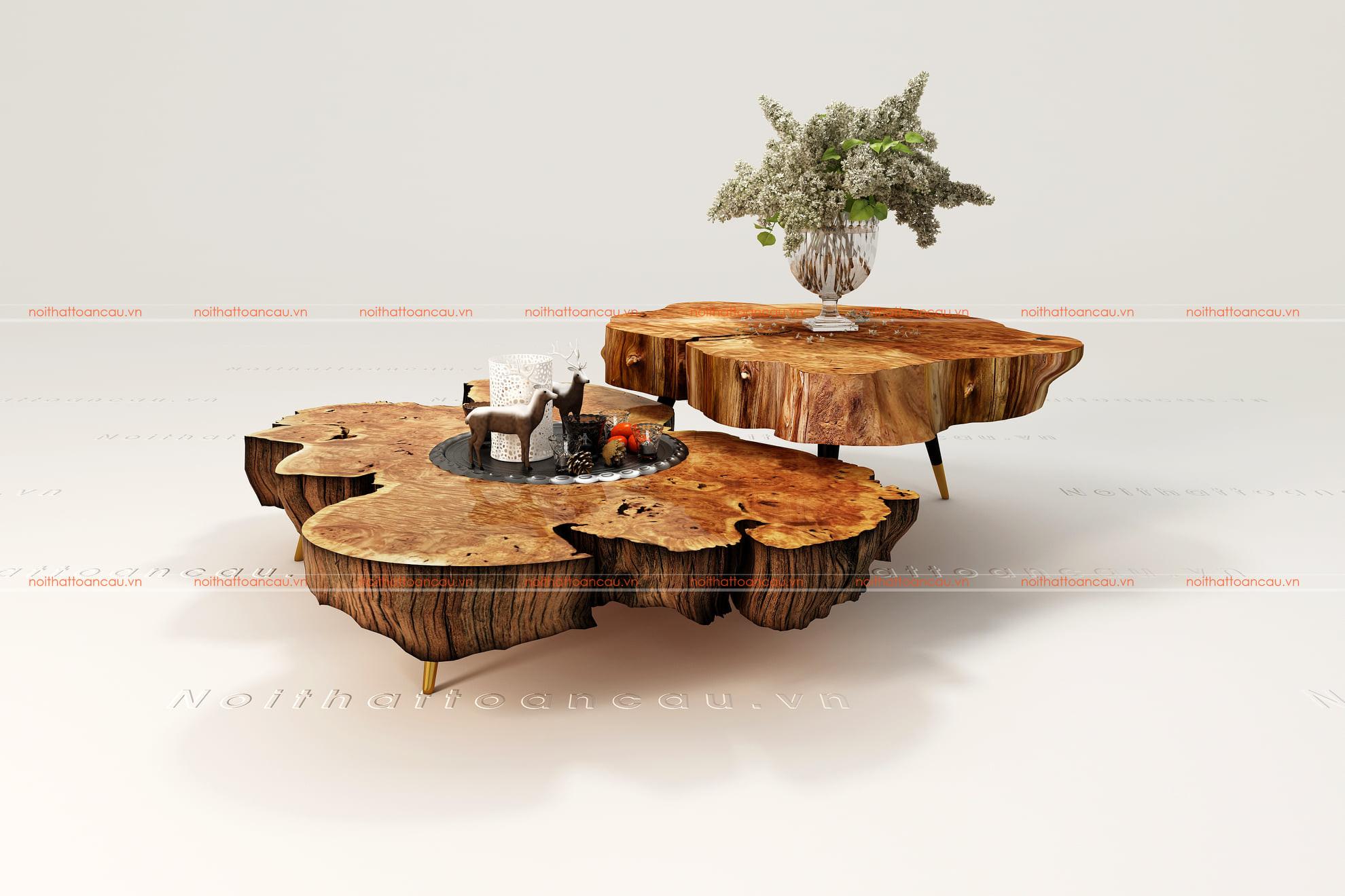Bàn trà nguyên khối gốc cây gỗ óc chó