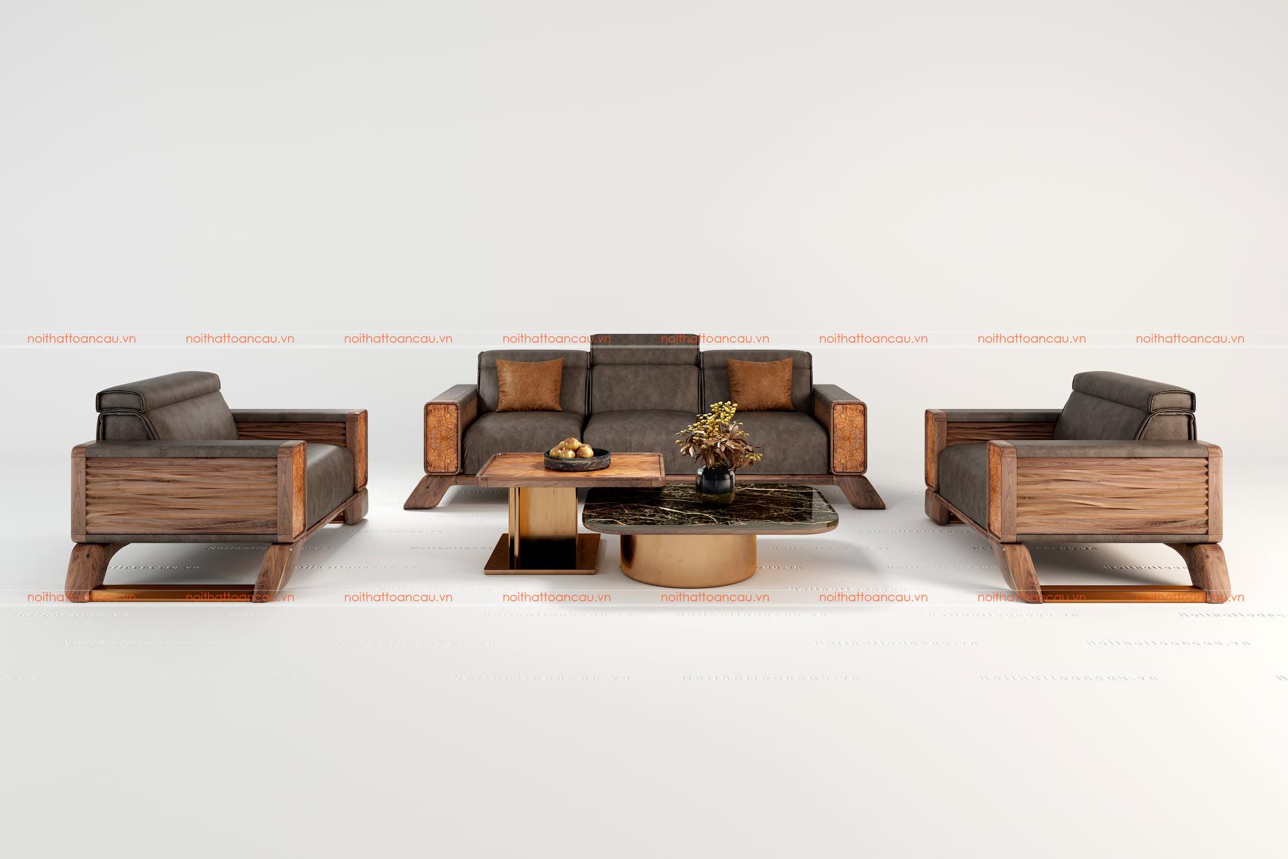 Salon gỗ óc chó hiện đại