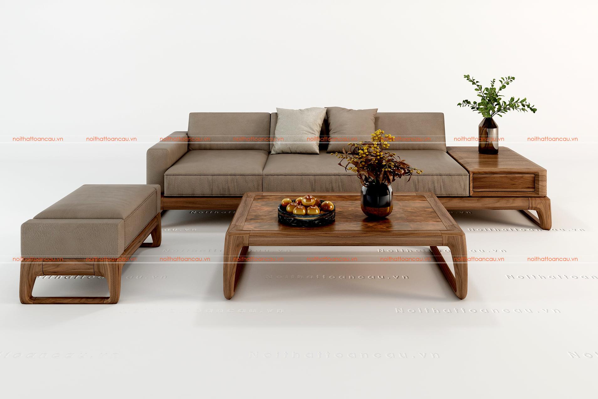 Sofa gỗ chữ i gỗ óc chó
