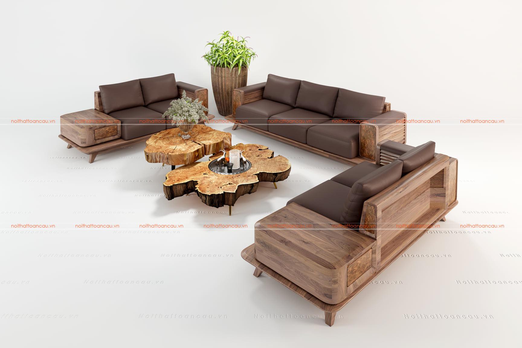 Sofa gỗ óc chó cho nhà biệt thự