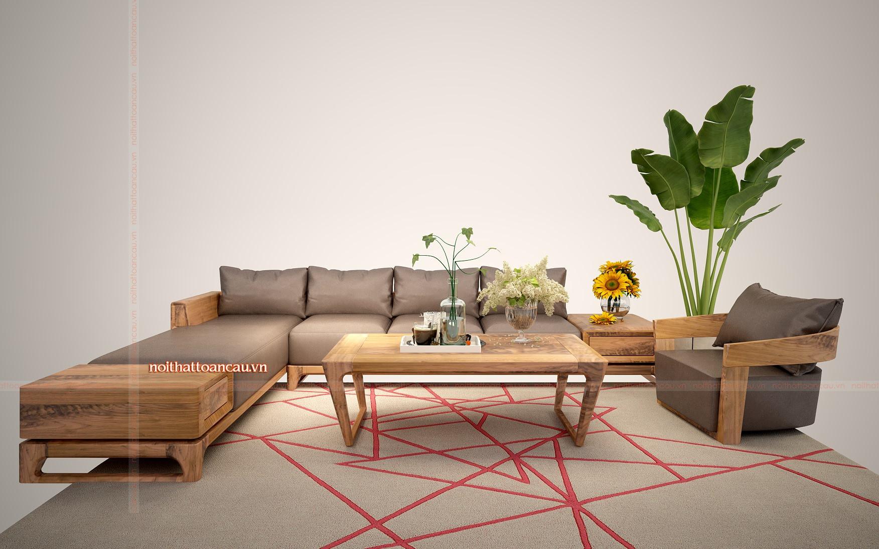 Sofa gỗ góc L đẹp