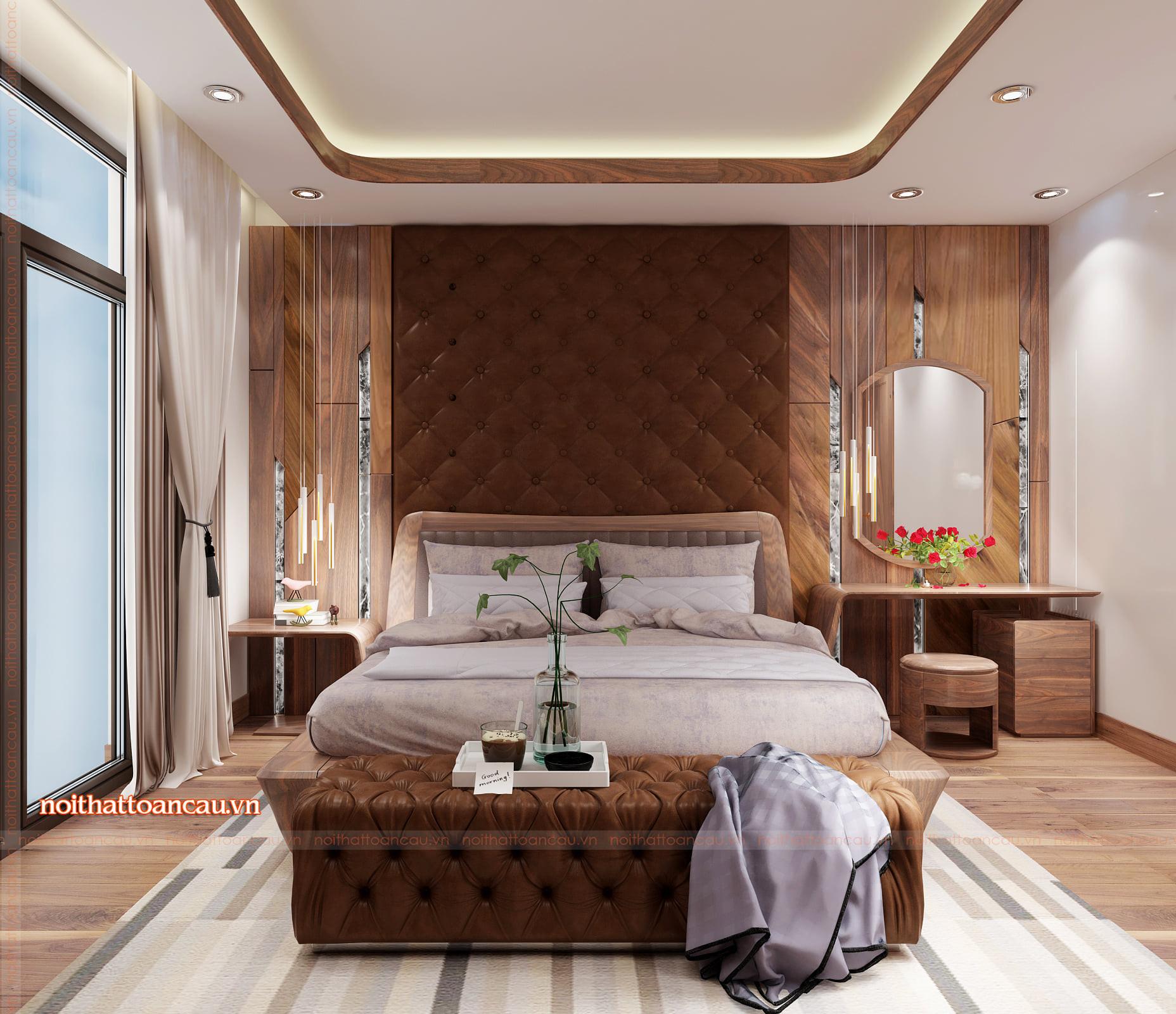 Phòng ngủ gỗ óc chó rộng 40m2