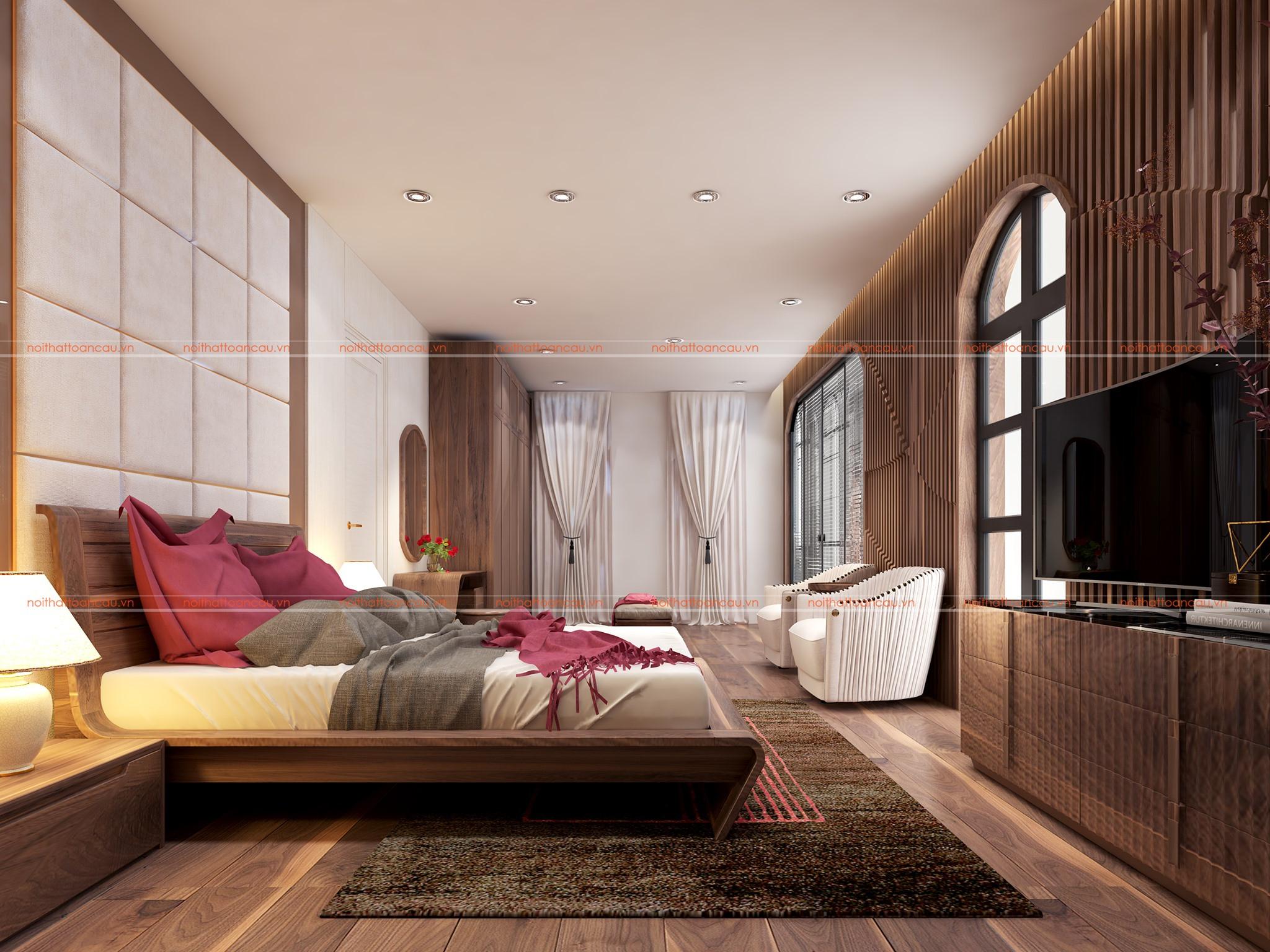 Phòng ngủ hẹp thiết kế từ gỗ óc chó