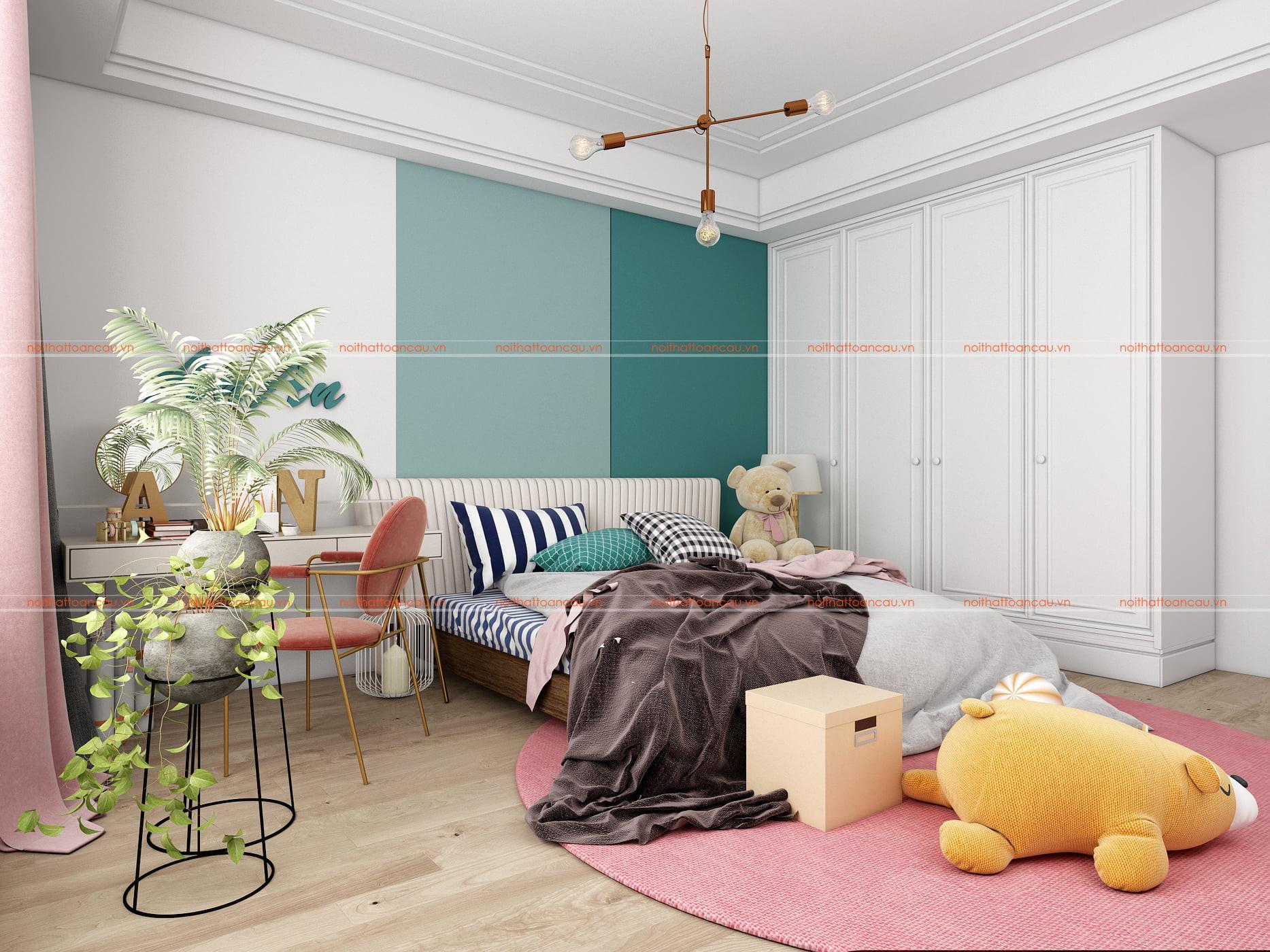 Thiết kế phòng ngủ màu xanh  và hồng cho bé gái