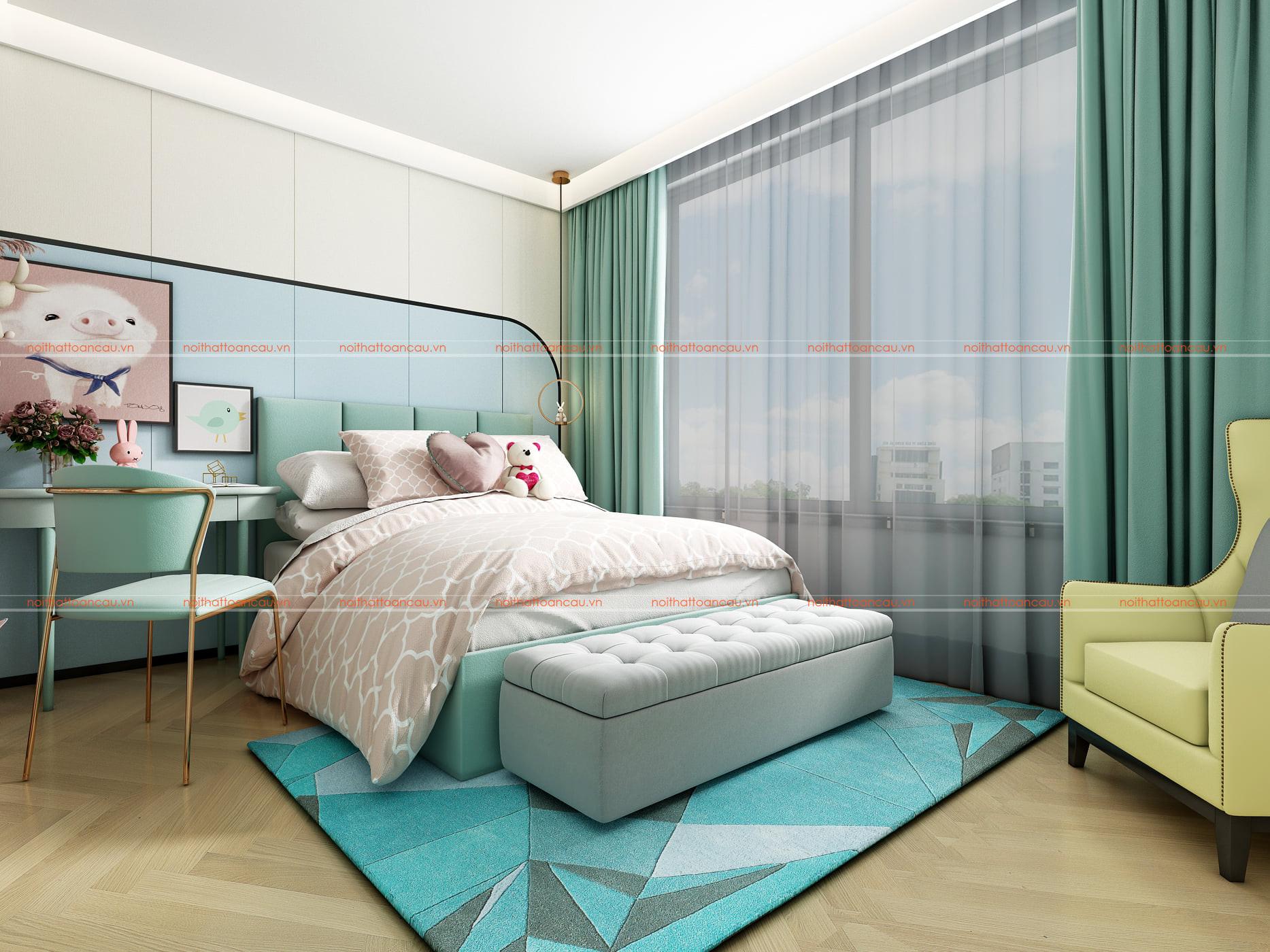 Phòng ngủ màu xanh nhỏ 10m2 cho bé gái