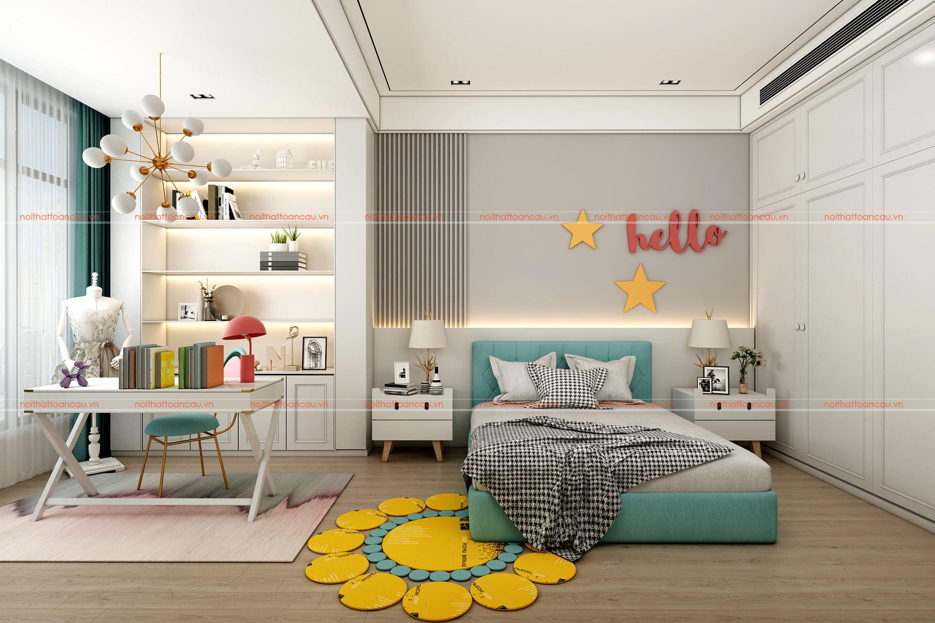 Phòng ngủ màu xanh rộng 20 m2 cho bé gái
