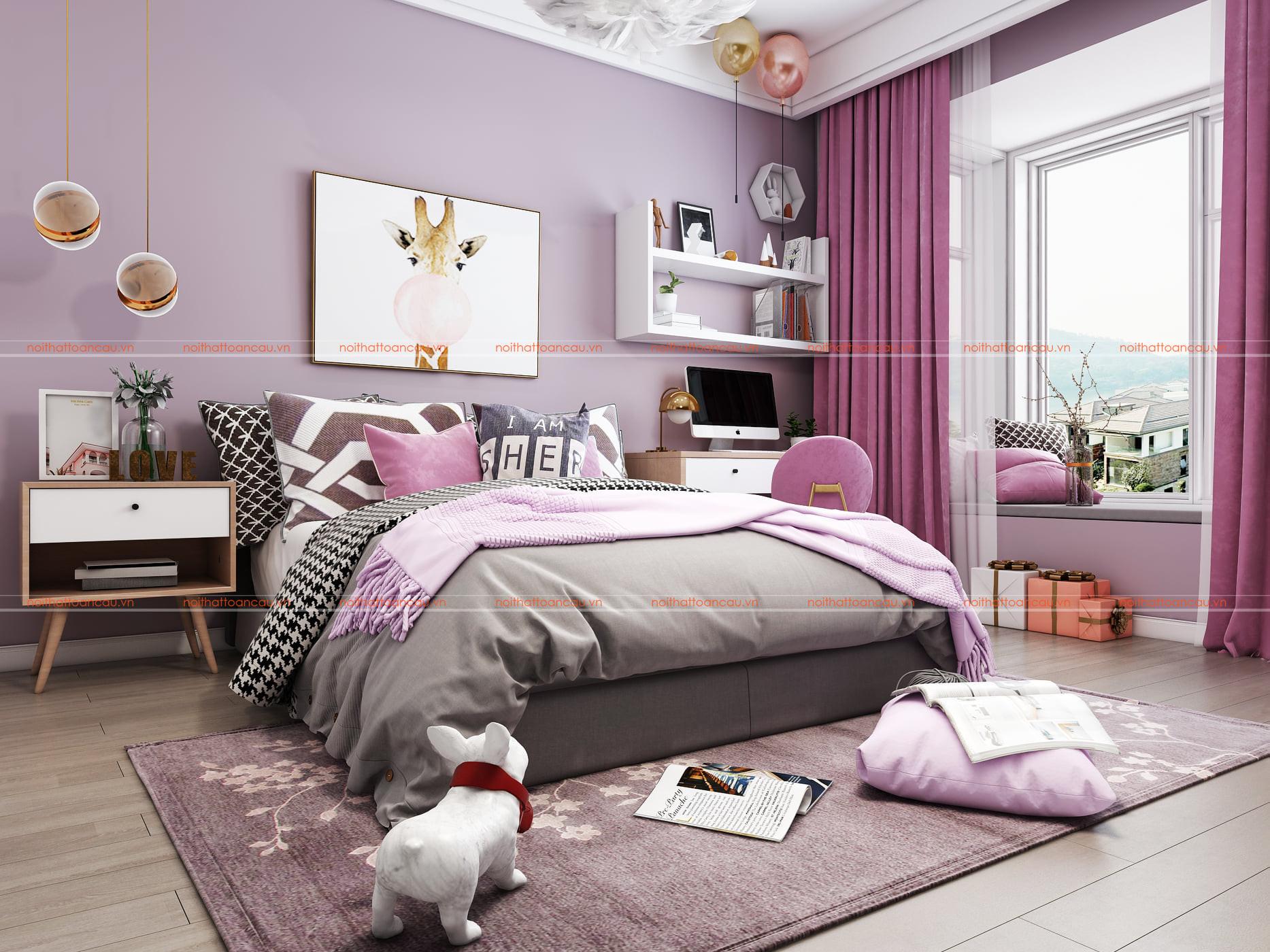 Phòng ngủ bé gái màu tím rộng 12m2