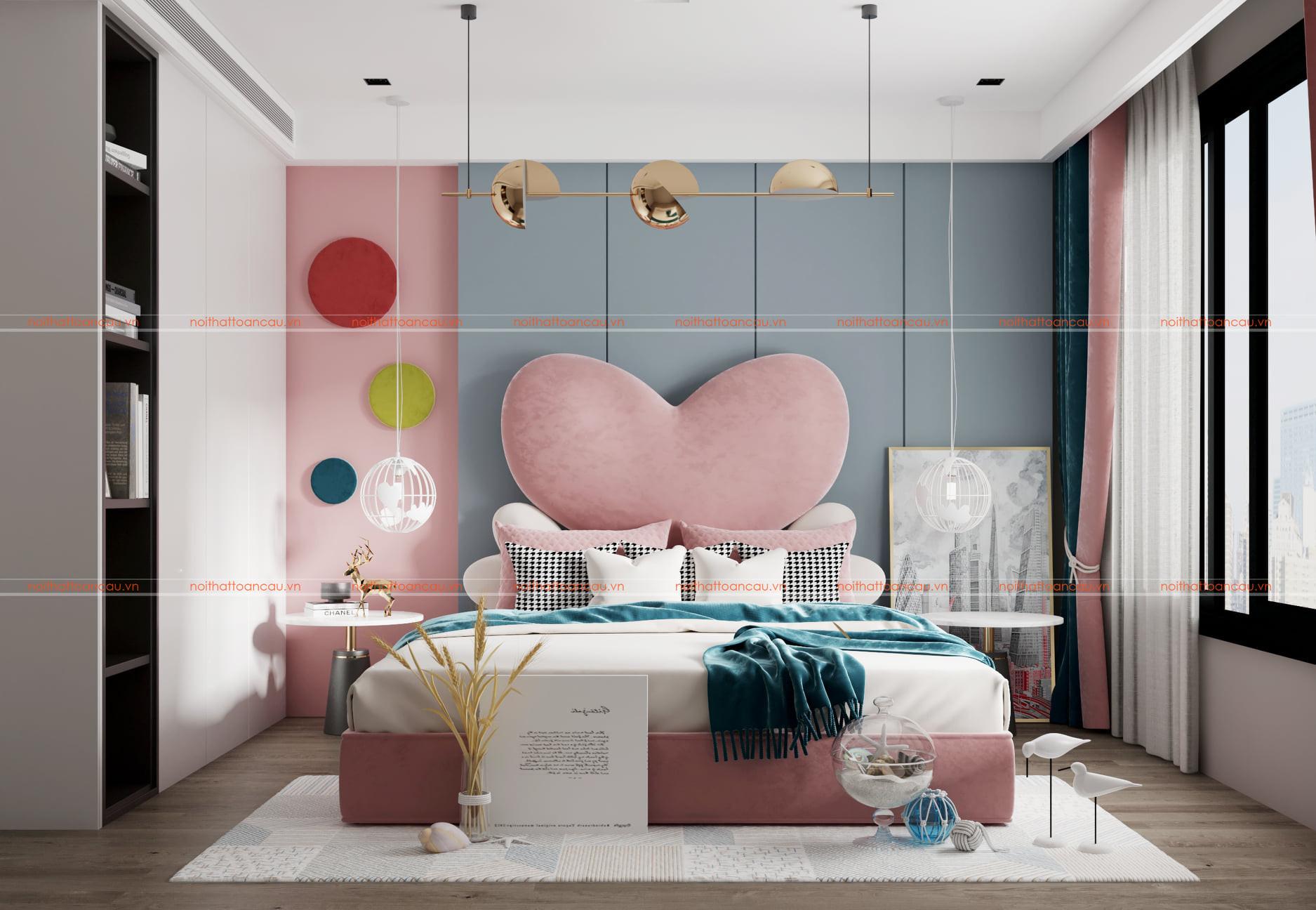 Phòng ngủ màu hồng- Xanh cho bé gái 15 tuổi