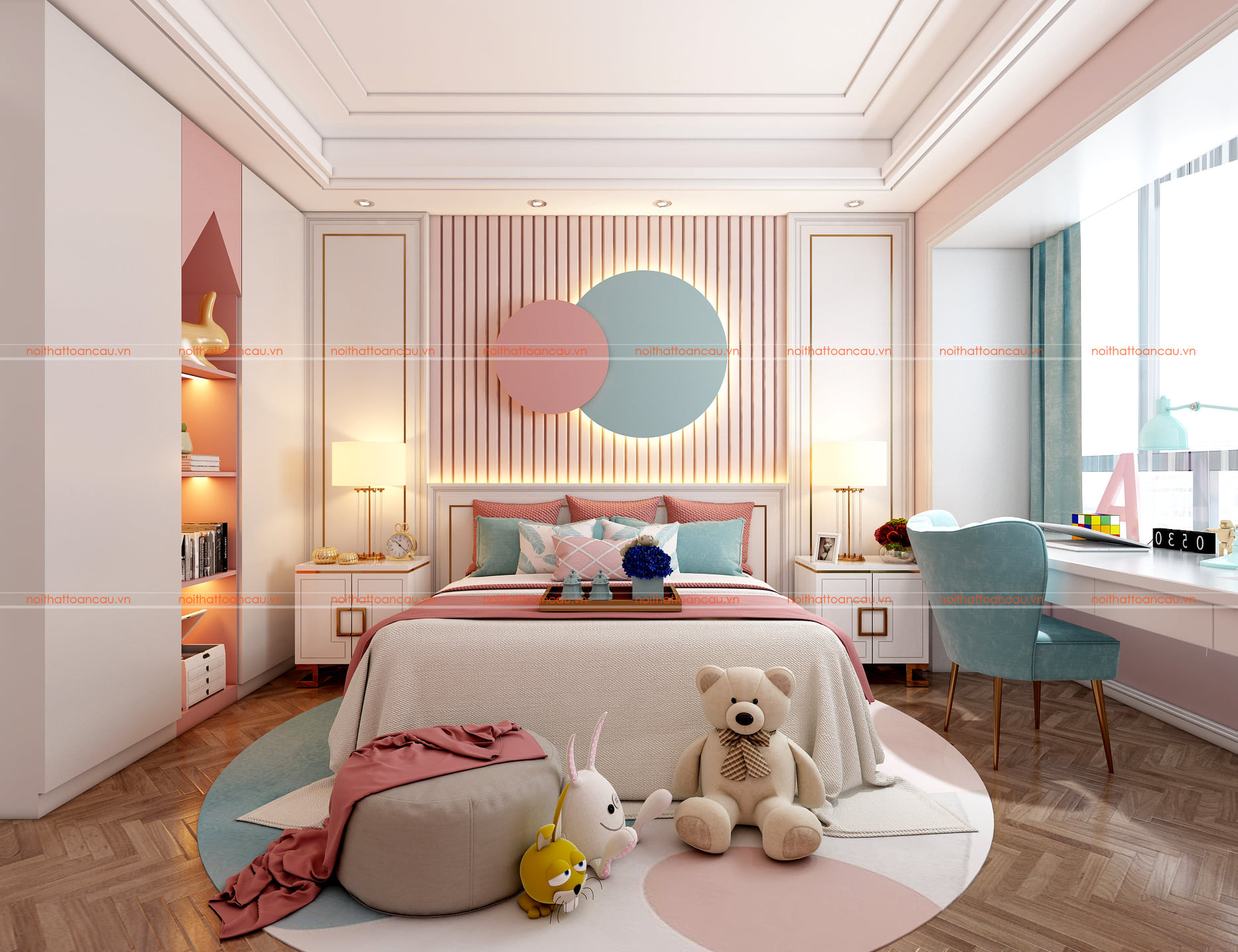 Thiết kế phòng ngủ màu hồng cho bé gái 8 tuổi
