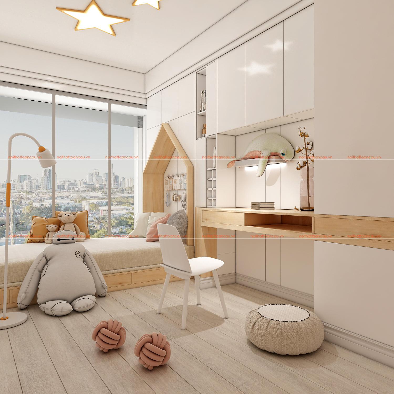 Thiết kế phòng ngủ nhỏ màu trắng cho bé gái
