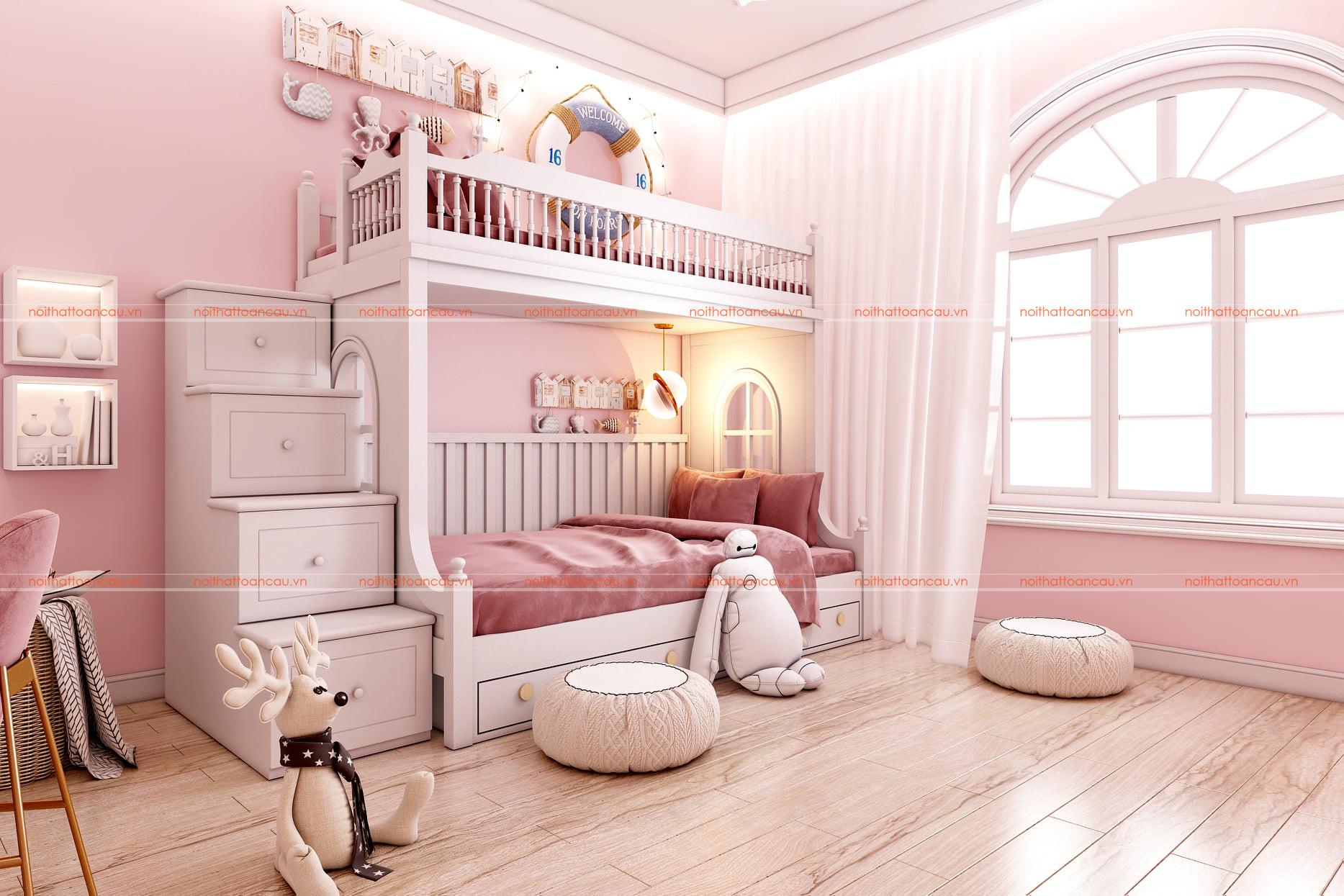 Thiết kế phòng ngủ có giường tầng màu hồng