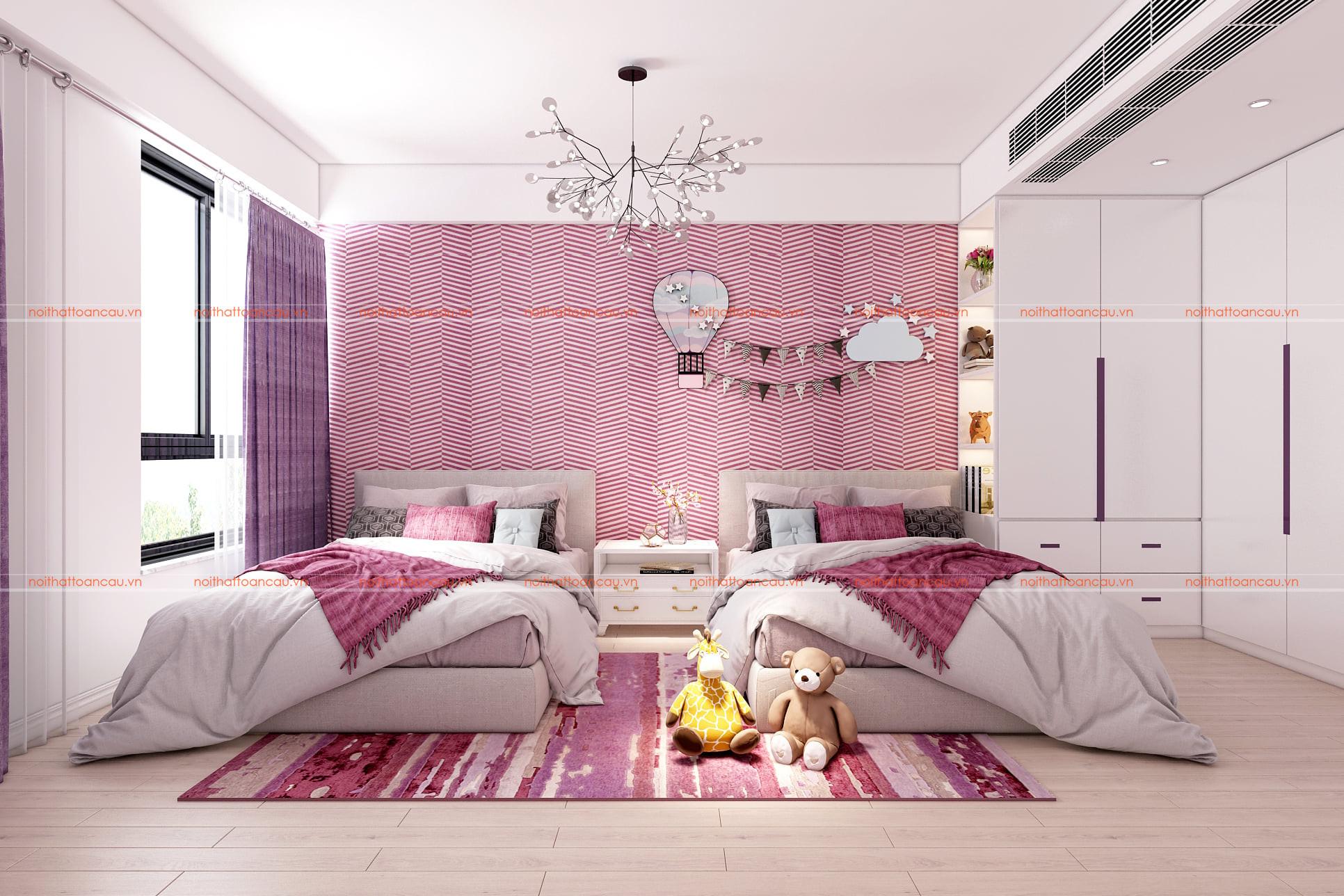 Phòng ngủ 2 giường cho bé gái màu tím