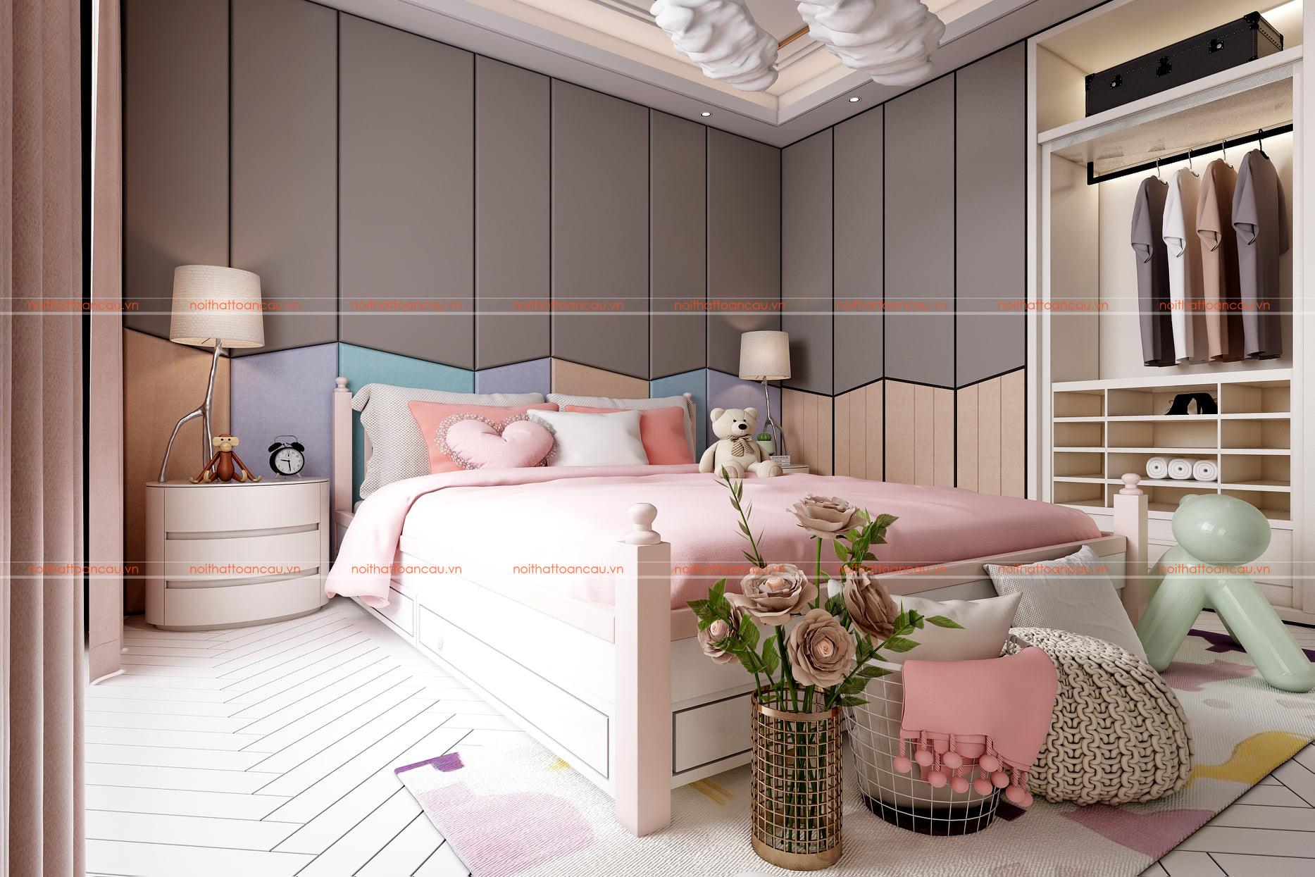 Phòng ngủ 12m2  màu hồng nhẹ cho bé gái