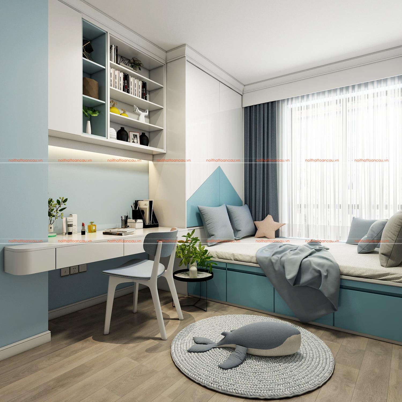 Thiết kế phòng ngủ màu xanh nhỏ 7m2 cho bé gái