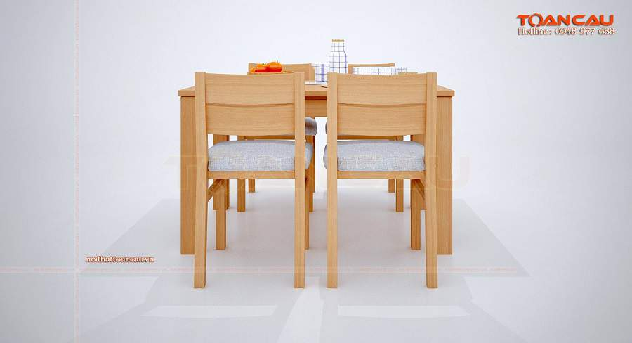 Bàn ăn gỗ sồi nga 4 ghế sang trọng