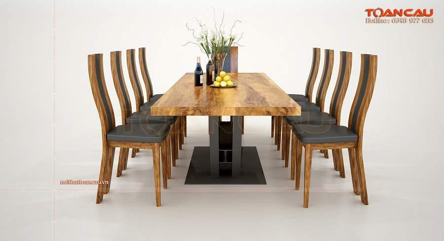 Bàn ăn gỗ tự nhiên nguyên khối 10 ghế sang trọng, hiện đại
