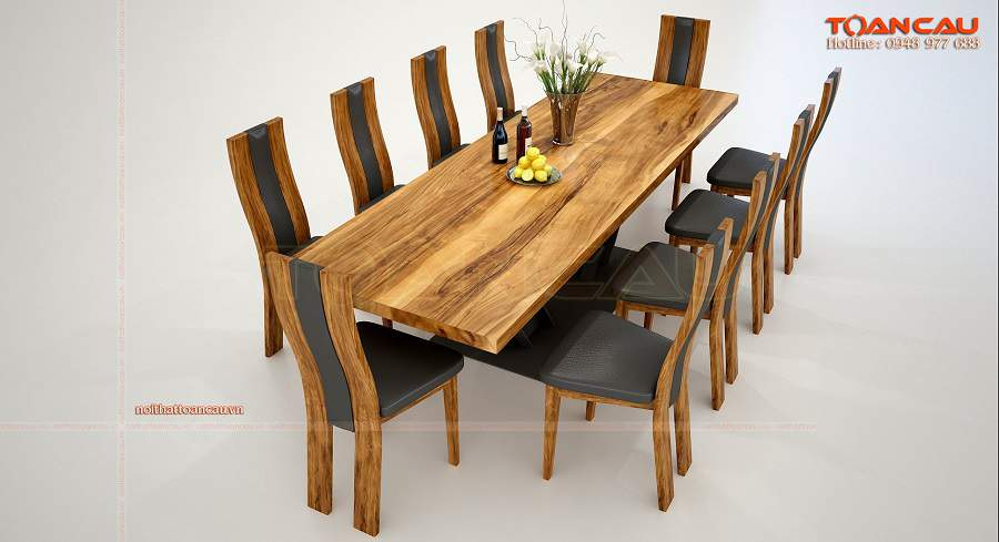 Bàn ăn gỗ tự nhiên nguyên khối 10 ghế bền đẹp