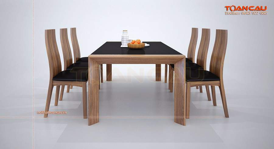 Bàn ghế ăn hiện đại gỗ óc chó – TC841