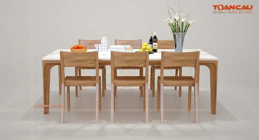 bộ bàn ăn 6 ghế gỗ sồi tiện ích