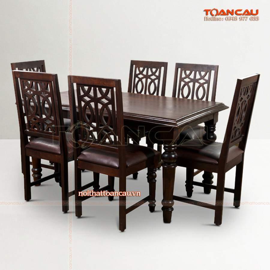 Mẫu bàn ghế ăn gỗ thiết kế cách điệu được ưa chuộng nhất trên thị trường hiện nay.