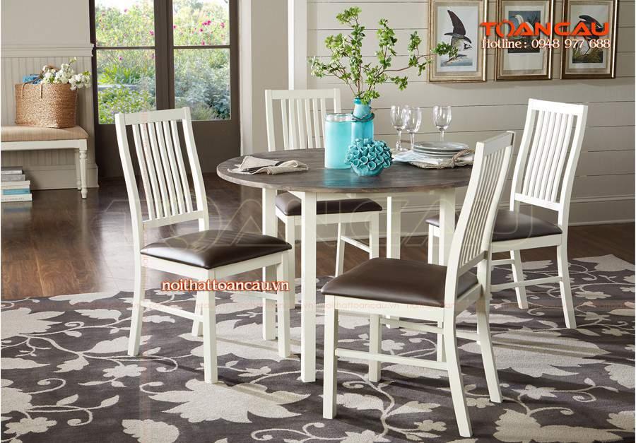 Bộ bàn ghế ăn đẹp bán với giá rẻ nhất, bàn ghế ăn làm bằng gỗ tự nhiên rất bền.