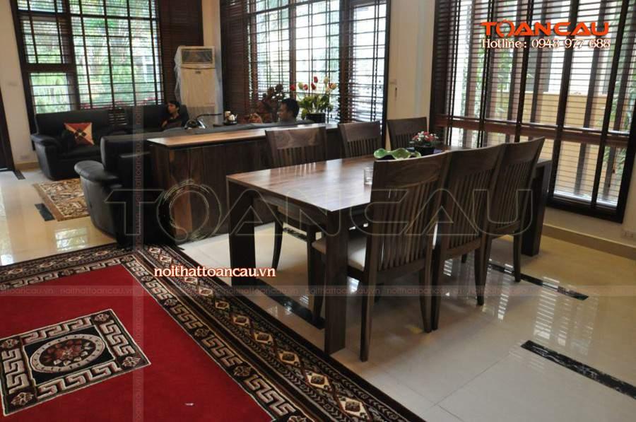 Mẫu bàn ghế ăn đẹp gỗ tự nhiên - T016 được thiết kế và thi công với giá rẻ tại Nội thất Toàn Cầu