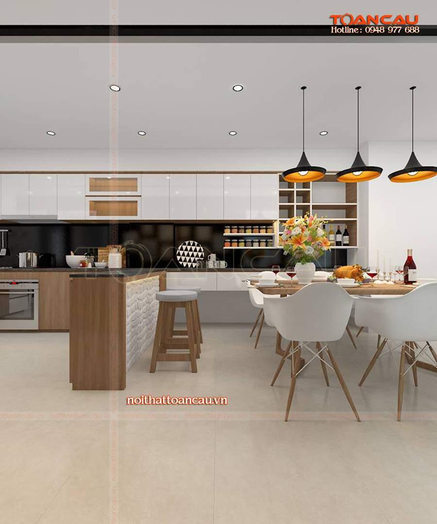 Mẫu bàn ghế ăn hiện đại cho nhà phố - T015 kết hợp với nội thất tủ bếp tạo cho không gian bếp hiện đại hơn.