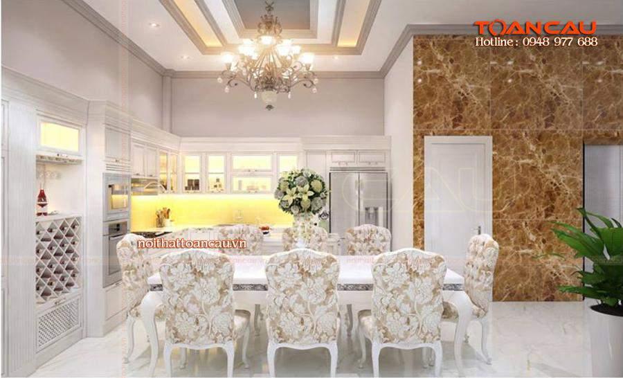 Thiết kế bộ bàn ăn phong cách Châu Âu, hiện đại - T013, thể hiện không gia phòng bếp sang trọng, lịch sự nhất.