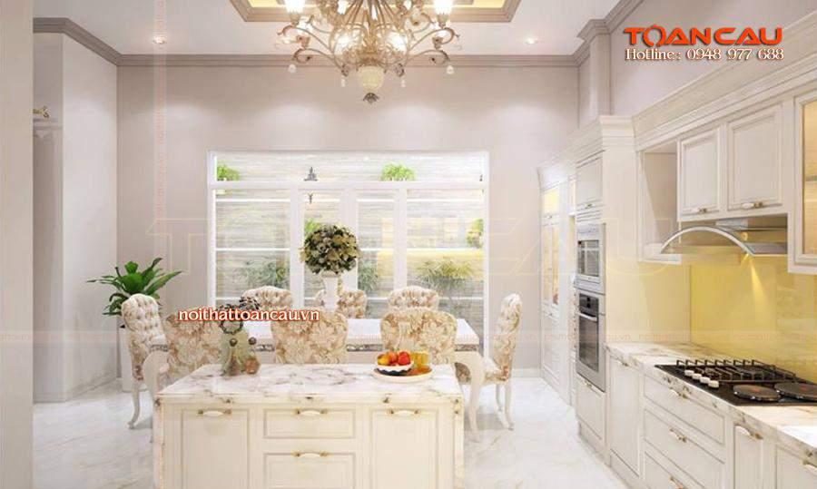 Thiết kế bộ bàn ăn phong cách Châu Âu, hiện đại - T013 thiết kế và thi công với giá rẻ tại Công ty nội thất Toàn Cầu