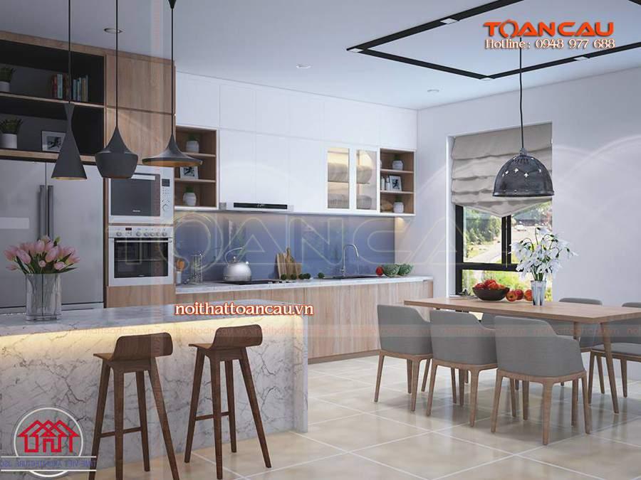 Thiết kế phòng bếp có bàn ăn hiện đại dành cho phòng bếp gia đình với giá tốt nhất, bảo hành lâu năm khi sử dụng.