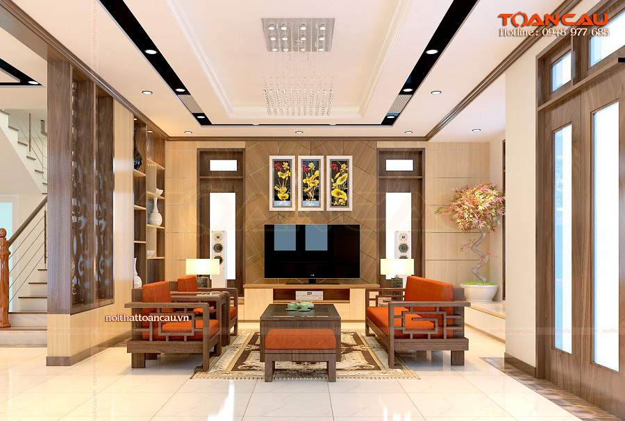 chọn bàn ghế gỗ màu phù hợp với phòng khách