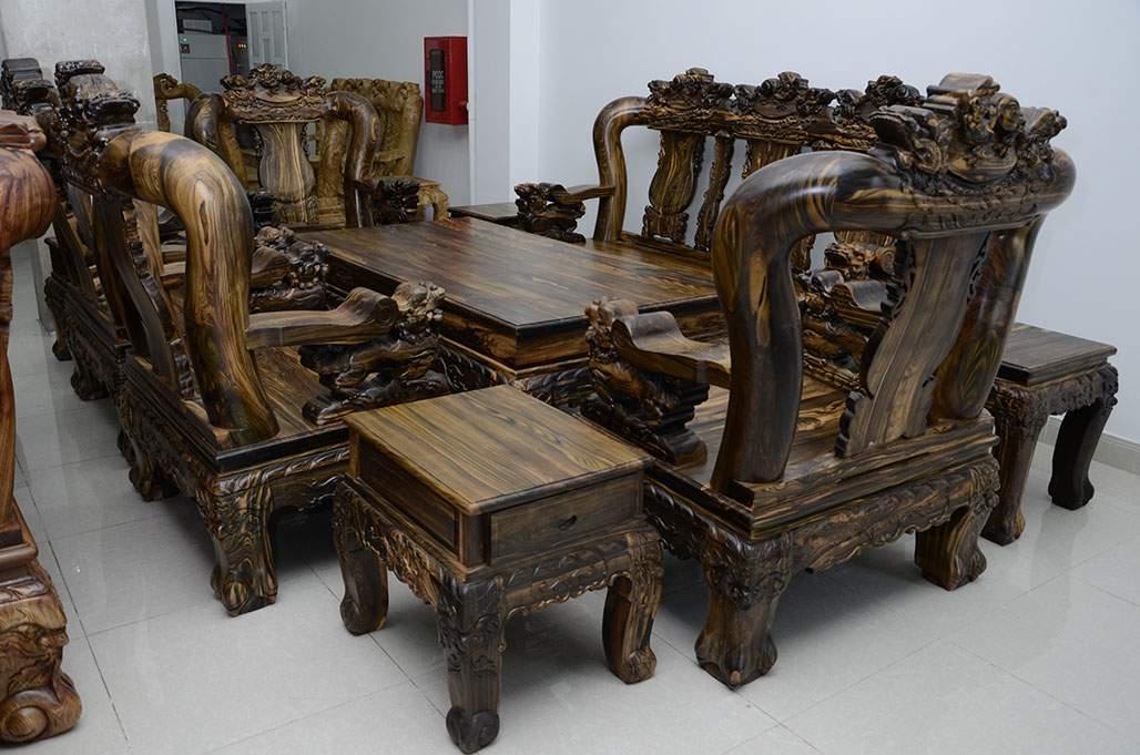 Mẫu bàn ghế gỗ mun – TC19121