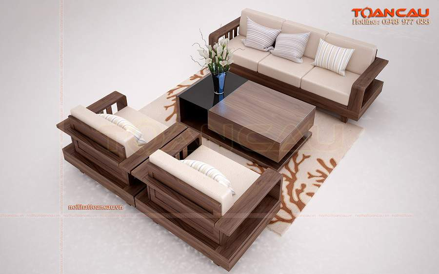 bộ bàn ghế phòng khách giá rẻ cho nhà rộng