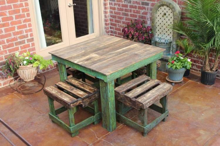 Bộ bàn ghế gỗ thông pallet TC17152