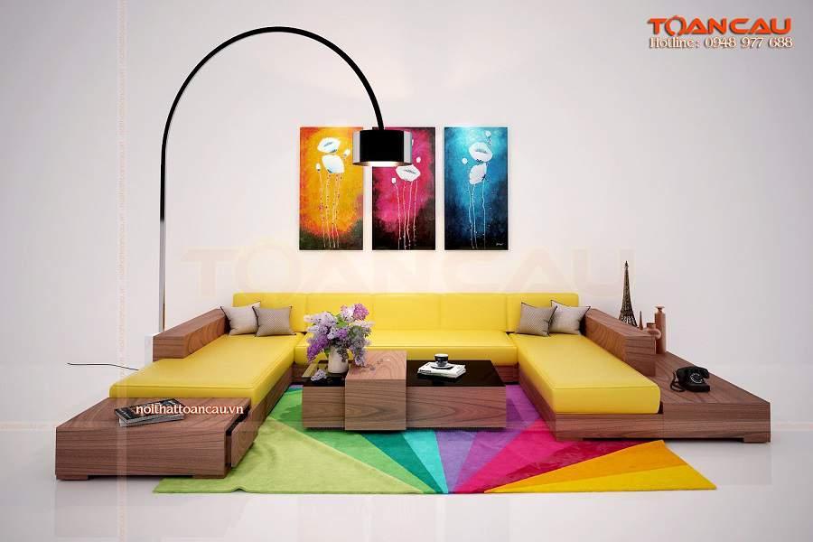 Bộ bàn ghế gỗ tràm bông vàng sang trọng
