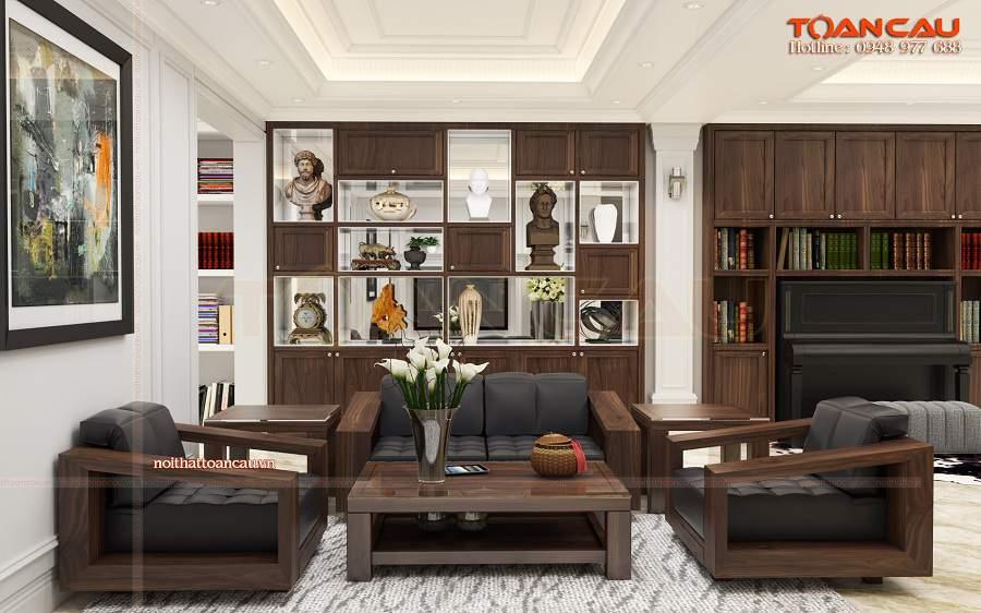Thiết kế phòng khách đơn giản bằng gỗ óc chó