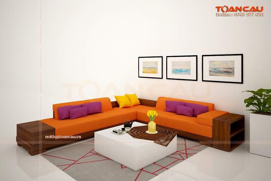 Những mấu thiết kế phòng khách đẹp bằng gỗ óc chó còn có thể kết hợp đa dạng các loại chất liệu nội thất