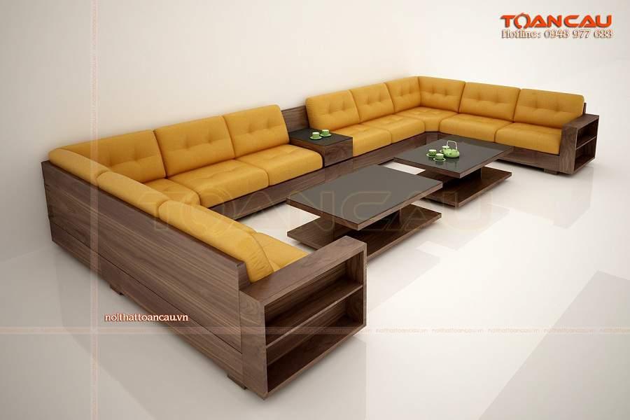 Bộ bàn ghế gỗ phòng khách chung cư hiện đại