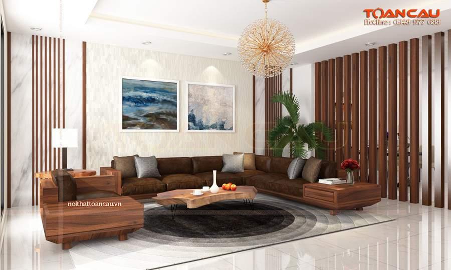 Thiết kế phòng khách đẹp bằng Gõ đỏ