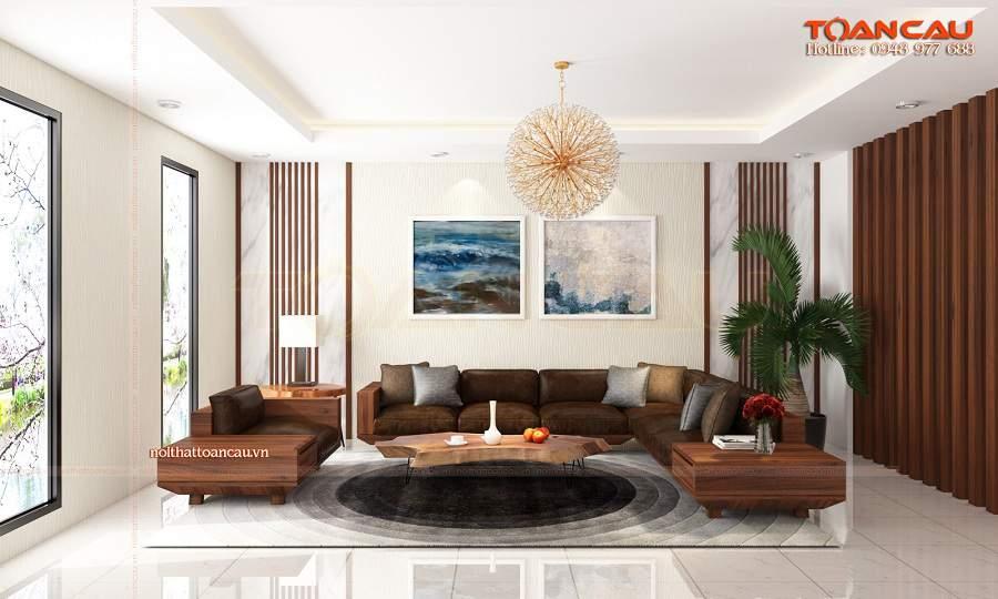 Mẫu thiết kế phòng khách đẹp bằng gỗ óc chó tại Bình Phước rất sang