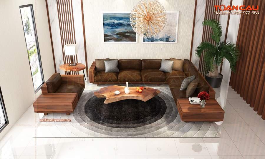 Mẫu bàn ghế gỗ phòng khách nhỏ - TC147