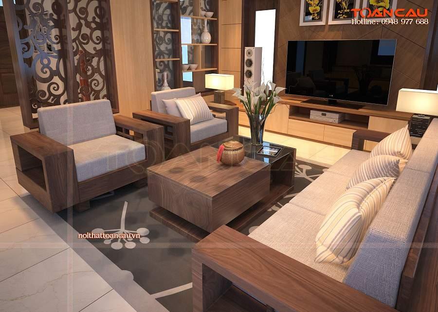 thiết kế nội thất phòng khách đẹp với bộ sofa gỗ chữ I