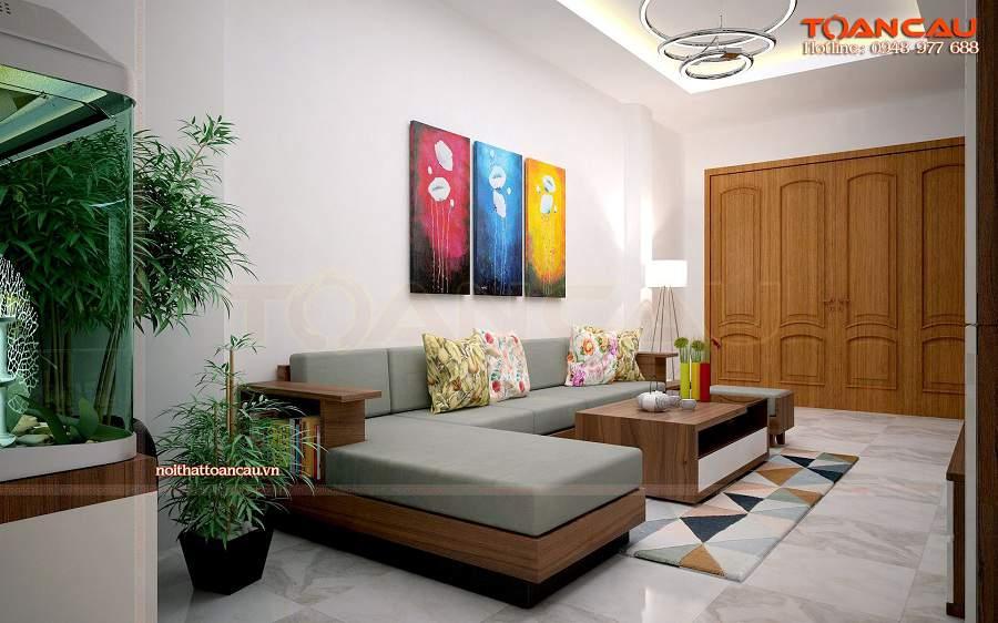 thiết kế nội thất phòng khách đẹp bằng gỗ sồi Mỹ