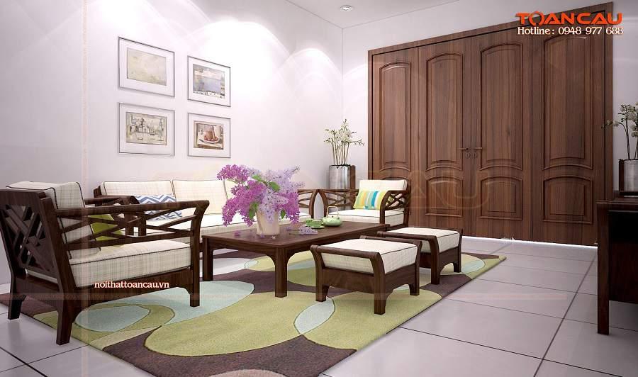 bàn ghế sa lông chân cao lịch sự cho phòng khách rộng