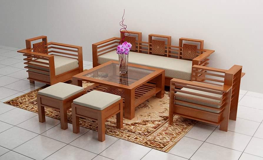 Bàn ghế sofa gỗ sồi - TC17164