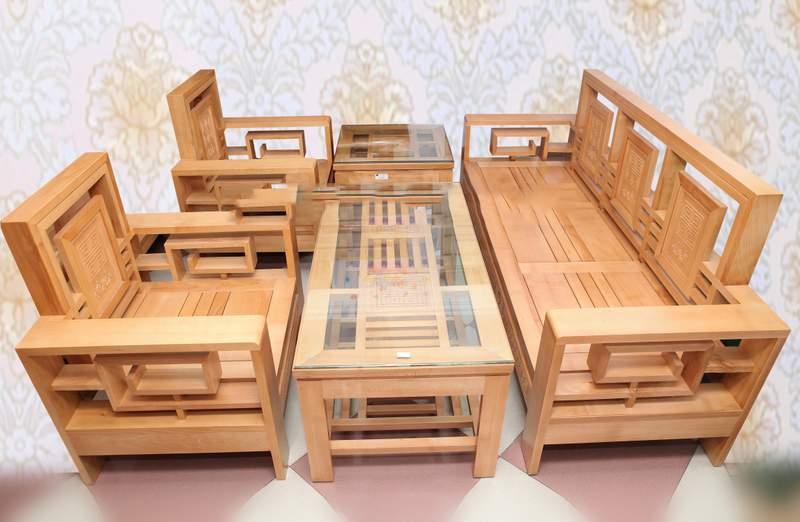 Bàn ghế sofa gỗ sồi – TC17168