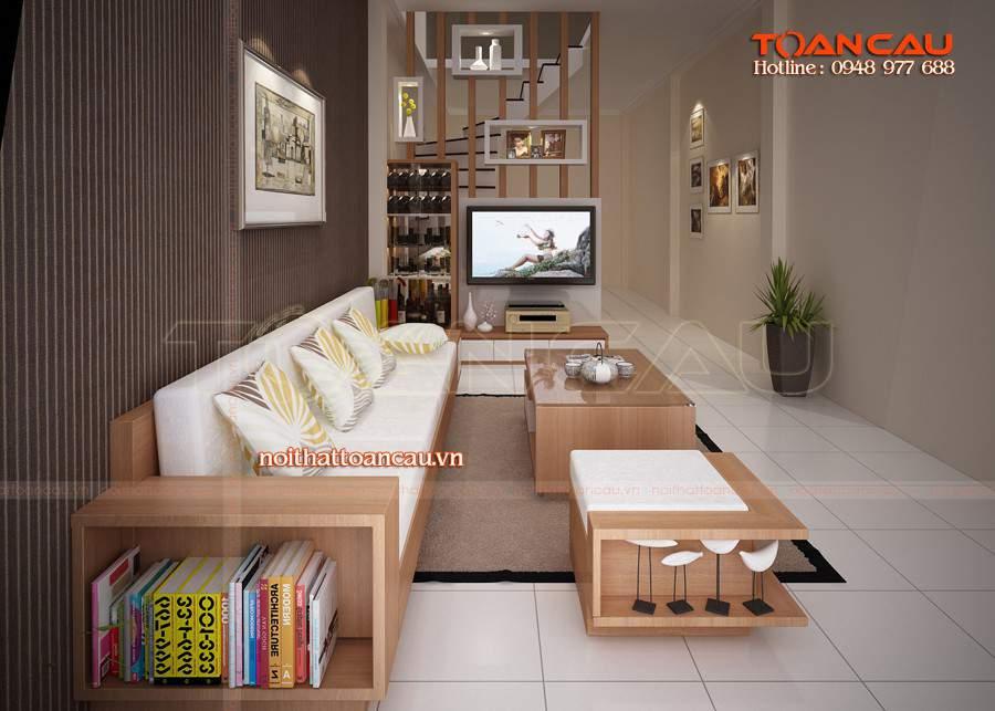 Bàn ghế gỗ phòng khách - kệ Tivi gỗ cao cấp được các gia đình ưa chuộng nhất hiện nay khi đến với nội thất Toàn Cầu