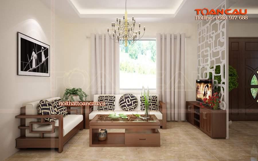 Bộ bàn ghế Sofa gỗ phòng khách - T058 làm bằng gỗ Sồi nhập khẩu tốt nhất khi sử dụng.