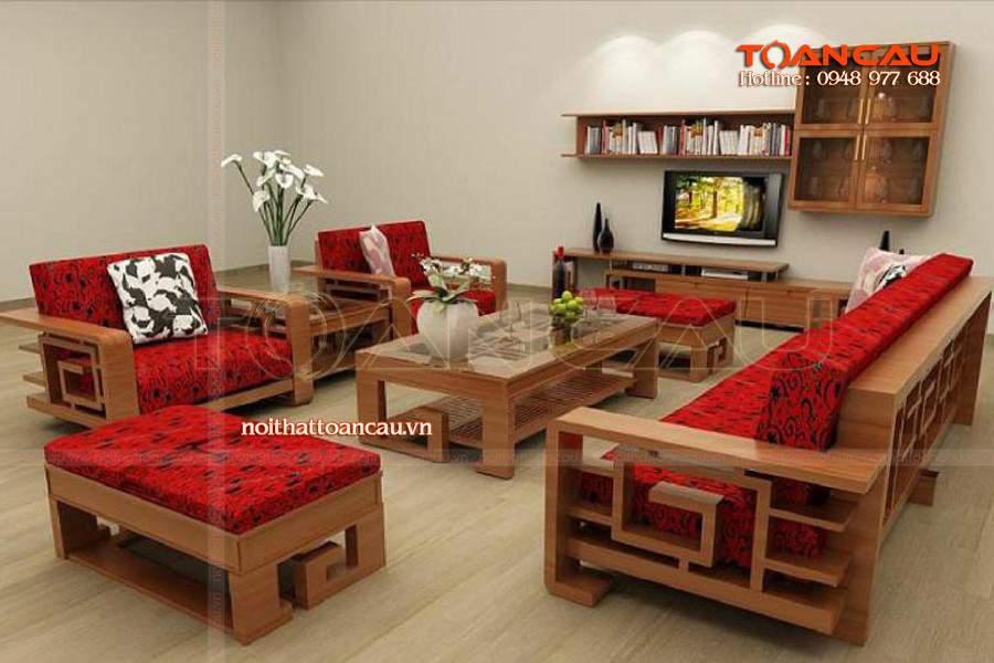 Mẫu bộ bàn ghế Sofa đẹp tại nhà khách được thiết kế và thi công tại Công ty nội thất Toàn Cầu