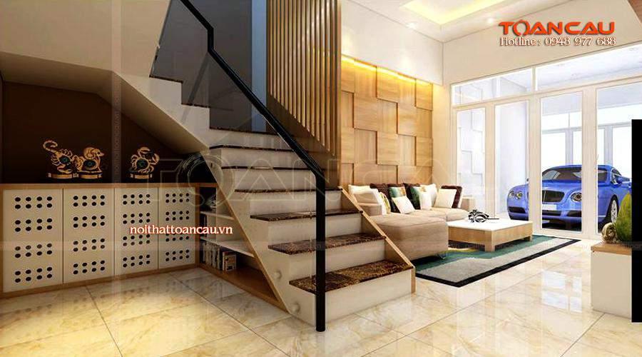 Mẫu phòng khách đẹp cho nhà phố với đầy đủ nội thất làm từ gỗ tự nhiên.